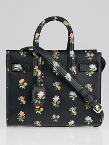 Yves Saint Lauren Black Leather Prairie Flower Nano Sac de Jour Bag