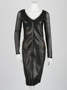 Emilio Pucci Black Faux Croc Leather and Silk Long Sleeve Dress Size 8/42