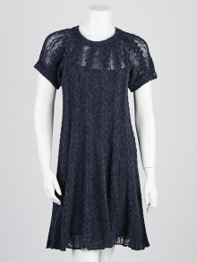 Chanel Blue Alpaca Blend Short Sleeve Dress Size 2/36