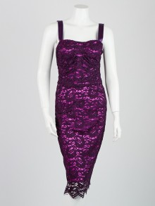 Dolce & Gabbana Purple Lace Sleeveless Dress Size 8/42