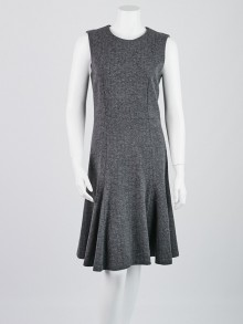 Gucci Black/Grey Herringbone Wool/Cashmere Sleeveless Dress Size L