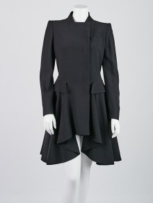 Alexander McQueen Black Acetate/Rayon Long Coat Size 8/42