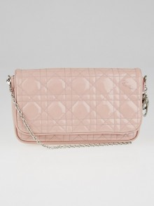 Christian Dior Pink Cannage Quilted Patent Leather Crossbody Bag