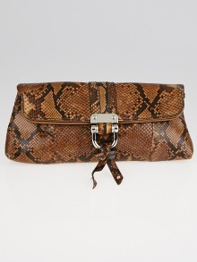 Gucci Brown Python and Leather Croisette Bamboo Clutch Bag
