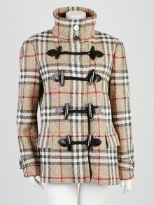 Burberry London Beige Check Wool Toggle Double Breast Peacoat Size 14