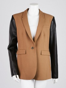 Burberry Cotton Blend/Leather Brown/Black Blazer Jacket Size 12