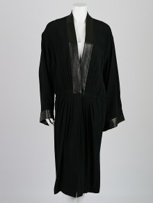 Gucci Black Pleated Crepe and Leather Jacket Size 12/46