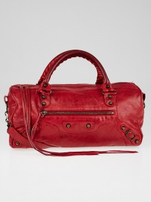 Balenciaga Rouge Vermillion Lambskin Leather Twiggy Bag