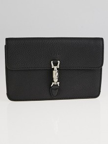Gucci Black Pebbled Leather Soft Jackie Wallet