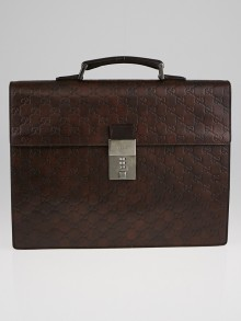 Gucci Chocolate Guccissima Leather Briefcase