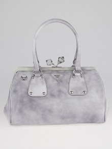 Prada Grigio Spazzolato Leather Kiss-Lock Frame Satchel Bag BR4447