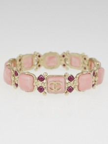 Chanel Pink Gripoix and Crystal CC Bangle Bracelet