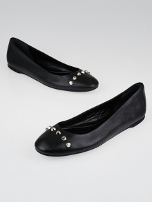 Balenciaga Black Lambskin Leather Studded Ballet Flats Size 8/38.5
