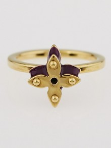 Louis Vuitton Purple Resin and Goldtone Monogram Sweet Flower Rings Size 6.25