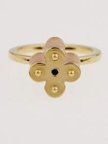 Louis Vuitton Pink Resin and Goldtone Monogram Sweet Flower Rings Size 6.5