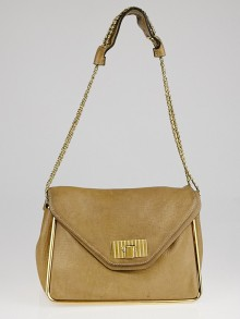 Chloe Light Brown Pebbled Leather Medium Sally Shoulder Bag
