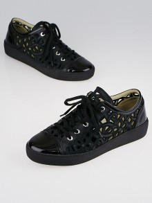 Chanel Black Laser-Cut Leather Camellia Cap-Toe Sneakers Size 9/39.5