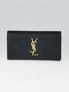 Yves Saint Laurent Black Textured Leather Large Flap Monogram Wallet