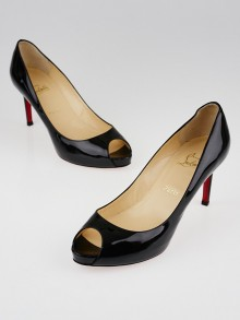 Christian Louboutin Black Patent Leather No Matter 85 Peep Toe Pumps Size 9/39.5