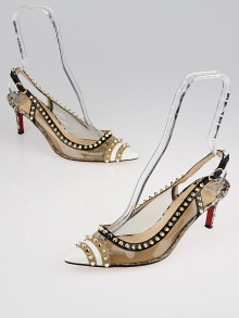 Christian Louboutin Multicolor Spiked Leather/PVC Slingback Manovra 70 Pumps Size 8.5/39