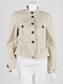 Burberry London Pale Trench Cotton Blend Barton Hill Cropped Jacket Size 8