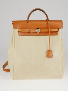 Hermes 30cm Natural Toile Canvas and Vache Calfskin Leather Herbag PM 2-in-1 Bag/Backpack