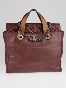 Chanel Burgundy Iridescent Calfskin Leather In-the-Mix Portobello Soft Tote Bag