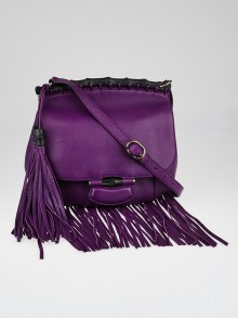 Gucci Purple Pebbled Leather Nouveau Fringe Medium Shoulder Bag