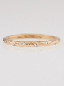 Tiffany & Co. 18k Hammered Rose Gold and Diamond Paloma Picasso Ring Size 4.5