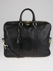 Gucci Black Diamante Textured Leather Briefcase