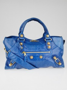 Balenciaga Electric Blue Lambskin Leather Giant 21 Gold Part Time Bag