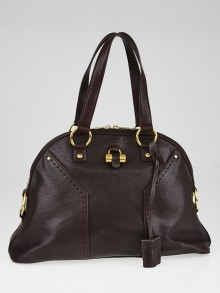 Yves Saint Laurent Bordeaux Calfskin Leather Large Muse Bag