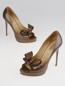 Valentino Brown Patent Leather Couture Bow Peep-Toe Pumps Size 6/36.5