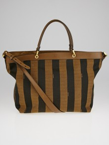 Fendi Brown Leather and Tobacco Pequin Stripe Canvas Large Tote Bag 8BN254