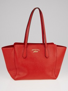 Gucci Orange Pebbled Leather Small Swing Tote Bag