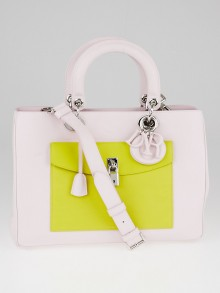 Christian Dior Light Pink/Yellow Leather Lady Dior Front Pocket Tote Bag