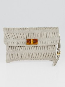 Prada Pomice Nappa Leather Gaufre Wristlet Clutch Bag 1N1651