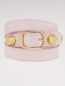Balenciaga Rose Poudre Lambskin Leather Giant Gold Triple Tour Bracelet