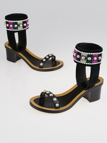 Isabel Marant Black Leather and Embroidered Suede Joss Sandals Size 5.5/36