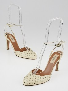 Valentino Ivory Leather Mini Studded Chain Ankle Strap Heels Size 6.5/37