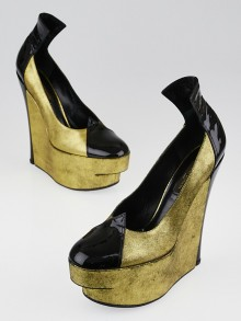 Louis Vuitton Gold Leather and Black Patent Leather Platform Wedges Size 6.5/37