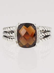 David Yurman Garnet and Diamonds Petite Wheaton Ring Size 7
