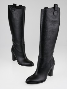 Gucci Black Pebbled Leather Riding Boots Size 8/38.5