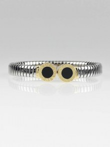 Bvlgari 18k Gold and Stainless Steel Black Onyx Tubogas Bracelet