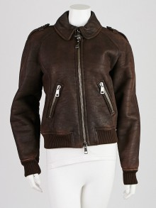 Burberry Brown Lambskin Leather Bomber Jacket Size 8