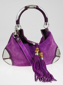 Gucci Purple Suede Leather Medium Babouska Indy Top Handle Bag