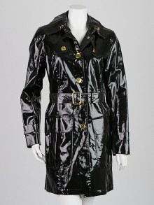 Burberry London Black Coated Cotton Hooded Trench Coat Size 8