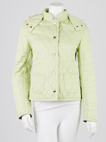 Burberry Light Green Diamond Quilted Polyester Hooded Jacket Size S