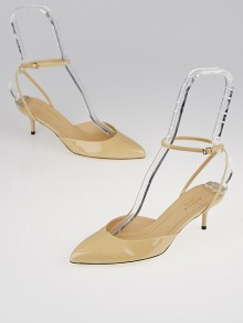 Gucci Beige Patent Leather Pointed-Toe Ankle Strap Kitten Heels Size 5.5/36