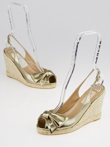 Valentino Bronze Leather Espadrille Slingback Wedges Size 5.5/36